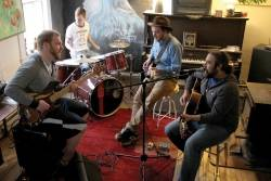 In this file photo from May 6, 2015, band members (from left to right) Caleb Sweet, Ryan Curless, Zachary Bence and Chris Ross rehearse at Ross's home in Hancock.