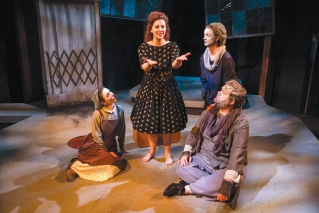 "From left: Holly Costar, Aimee Gerow, Jenny Hancock and John Siedenberg II in a scene from True North Theatre's production of Sarah Ruhl's ""Eurydice."""