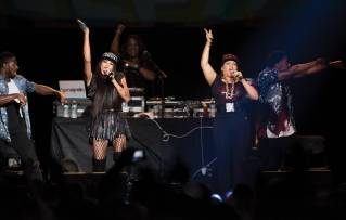 "Salt-N-Pepa perform during the ""I Love the '90s"" tour at the Cross Insurance Center in Bangor on Friday, Oct. 28, 2016."