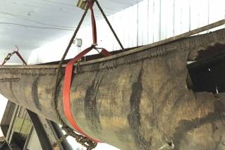 n a 2017 photo, a Wabanaki-made birch canoe that was carbon-dated to the 1700s is seen hanging in a barn behind the Pejepscot Historical Society museum in Brunswick, Maine. The canoe, possibly the oldest such canoe in existence, has been removed for conservation and will go on display inside the museum as early as this fall.