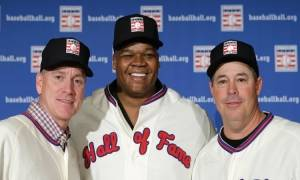 Tom Glavine (left), Frank Thomas and Greg Maddux during the 2014 MLB Hall of Fame election press conference on Jan. 9, 2014. (AP file photo/Kathy Willens)