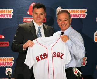 Red Sox GM Ben Cherington, left, and new manager Bobby Valentine pose for pictured during a press conference at Fenway Park