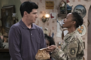 "Michael Fishman as DJ Conner and Maya Lynne Robinson as his wife, Geena Williams-Conner, in an episode of ""The Conners"" (formerly ""Roseanne""). New episodes air each Tuesday at 8:00 p.m."