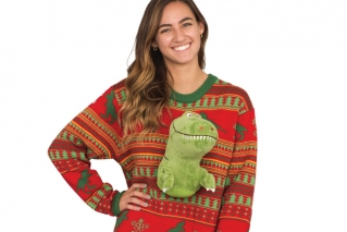 "HuffPost columnist David Moye loves putting together his annual list of the year's weirdest Christmas gifts. Among the bizarre gift ideas populating his 41 item list this year: An ugly Christmas sweater with what appears to be a T-rex dinosaur bursting through the front and back. ""There's no reason to have it which is why there is no reason not to have it,"" Moye says."