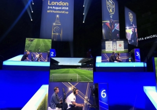 In this photo taken on Thursday, Aug. 2, 2018, competitors take part in the eWorld Cup grand final in London. Three weeks after the World Cup finished in Russia, the finals of the e-sports version are taking place in London, with gamers being tested for performance-enhancing substances for the first time by FIFA. It's a sign of the increasing professionalization of the gaming version of the World Cup, with the winner collecting $250,000.