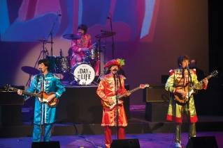 "Pictured from left to right, producer Morgan Cates, Andrew Carlson, Josh Kovach and Ira Kramer perform as part of ""A Day in The Life, a Beatles Experience"" at the Bangor Opera House in February 2017."