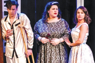From left to right: Tyler Costigan as Brick, Deb Ashmore as Big Mama, and Jasmine Ireland as Maggie.