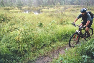 In this file photo, a rider pedals his mountain bike through the White Mountain National Forest in Bartlett, N.H. Mountain bikers will get the chance to see much of New England during the summer of 2019, as a new Borderlands initiative brings together more than a half-dozen trail systems covering 250 miles across more than three states and parts of Canada.