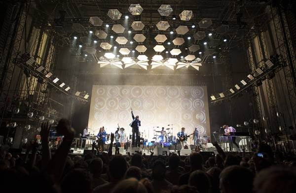 Montreal-based indie rock band Arcade Fire performs on Wednesday at the Darling's Waterfront Pavilion in Bangor.