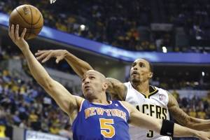 In this May 14, 2013 file photo, New York Knicks point guard Jason Kidd (5) shoots past Indiana Pacer George Hill during the first half of Game 4 of an Eastern Conference semifinal NBA basketball playoff series in Indianapolis. Kidd, fellow point guard and two-time NBA MVP Steve Nash, Grant Hill and Ray Allen are among six first-year candidates for the Naismith Memorial Basketball Hall of Fame.