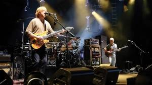 Trey Anastasio and Mike Gordon of Phish performing on the opening night of their 2014 Summer Tour in Mansfield, Massachusetts on July 1, 2014.