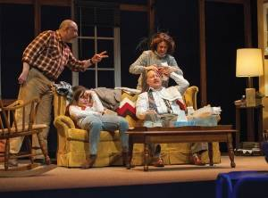 "From left to right, James Herrera, Emily Shain, Doug Meswarb and A.J. Mooney in a scene from the Penobscot Theatre Company production of ""Papermaker,"" a play written by Maine-based author Monica Wood."