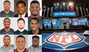 The New England Patriots' 2016 draftees, starting from upper left: Cyrus Jones, Devin Lucien, Elandon Robert, Jacoby Brissett, Joe Thuney, Kamu Grugier-Hill, Malcolm Mitchell, Ted Carras, and Vincent Valentine. Right, the site of the NFL Draft. (AP file photo)