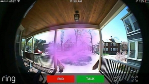 "Minneapolis resident Clem Bacarro captured this Ring alarm system image revealing a purple mist forming on his porch. ""I get a notification at least once a day that someone - or something - is on my porch,"" Bacarro says of the motion-activated home security device. ""When I watch the live video, I only see this purple fog. When I get home, a copy of the Watchtower is under my door,"" Bacarro said, referring to the religious literature published and distributed by members of the Jehovah's Witnesses denomination."