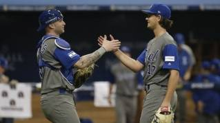 Israel pitcher Dean Kremer, right, celebrates his team's victory with catcher Nick Rickles against Taiwan after the first round game of the World Baseball Classic at Gocheok Sky Dome in Seoul, South Korea, Tuesday, March 7, 2017.