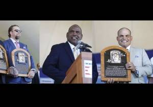 From left to right, Jeff Bagwell, Tim Raines and Ivan Rodriguez at the July 30, 2017 Hall of Fame induction ceremony in Cooperstown.