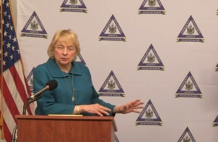 Gov. Janet Mills is seen during the press conference held Tuesday afternoon from the Maine Emergency Management Authority in Augusta. She issued new orders shutting down additional businesses in Maine.