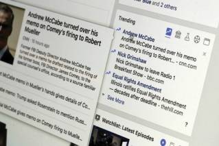 "This Thursday, May 31, 2018, photo shows the Trending section on a Facebook account in New York. Facebook is shutting down its ill-fated ""trending"" news section after four years, a company executive told The Associated Press. The company claims the tool is outdated and wasn't popular. But the trending section also proved problematic in ways that would presage Facebook's later problems with fake news, political balance and the limitations of artificial intelligence in managing the messy human world."