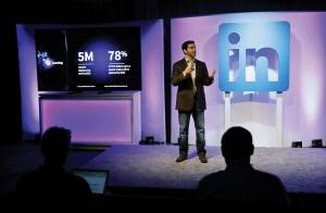 "LinkedIn CEO Jeff Weiner speaks during a product announcement at the company's headquarters, Thursday, Sept. 22, 2016, in San Francisco. LinkedIn wants to become more useful to workers by adding personalized news feeds, helpful messaging ""bots"" and recommendations for online training courses, as the professional networking service strives to be more than just a tool for job-hunting."