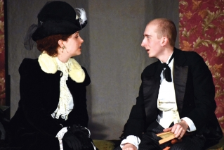 "Aimee Gerow, left, and Alan Estes in Ten Bucks Theatre's production of ""The Elephant Man."""