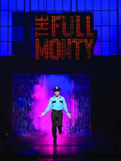 "Dominick Varney as Malcolm Macgregor in Penobscot Theatre's production of ""The Full Monty."""