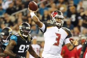 Tampa Bay Buccaneers quarterback Jameis Winston (3) throws a pass as he is pressured by Jacksonville Jaguars defensive lineman Malik Jackson (97) during the first half of an NFL preseason football game, Thursday, Aug. 17, 2017, in Jacksonville, Fla.