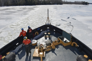 In this undated file photo, the Coast Guard icebreaker Thunder Bay breaks up ice on the Penobscot River. As a recent investigation revealed, the ice-breaking operation is not what it appears - there is an alleged top secret government operation behind it.