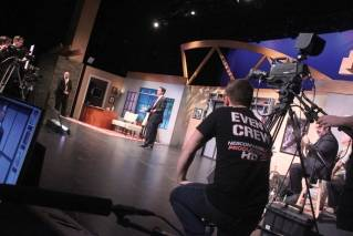 "The NESCom production crew working the set of ""The Nite Show,"" which has called Gracie Theatre its home since 2014."