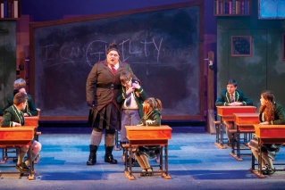 "Ben Layman is the terrifying Miss Trunchbull in PTC's ""Matilda: The Musical."""