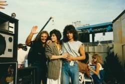 "Michael Anthony (left), Valerie Bertinelli and Eddie Van Halen are shown while on the band's iconic ""1984"" tour."