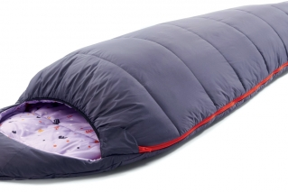 This undated photo provided by REI shows REI's Kindercone sleeping which bag is temperature-rated to 25 degrees. An anti-snag zipper, lightweight synthetic insulation and adjustable size make it a good option for little ones to grow into. The outdoor gear industry offers a wide range of easily packed camping items that both parents and kiddos can enjoy.