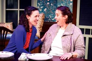 "Holly Costar, left, and Angela Bonacasa star as Sarah and Annie in True North Theatre's production of ""Table Manners."""
