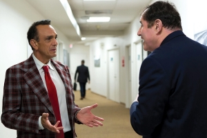 "Hank Azaria stars as baseball play by play announcer ""Jim Brockmire"" and Richard Kind as his producer ""Gus Barton"" in a season three scene of IFC's dark comedy hit 'Brockmire.' When his career as a Kansas City major-league announcer imploded after a very public live on-air meltdown, Brockmire returns to call games for the minor league 'Morristown Frackers,' a team owned by ""Jules James"" (played by Amanda Peet). Richard Kind joins the show in season three episodes airing Wednesdays at 10:00 pm on IFC. Previous episodes are available on Hulu."