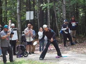 Sarah Hokom at the U.S. Women's Disc Golf Championship tournament in Sabbatus in September.