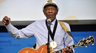 "This Feb. 26, 2012 file photo, musician Chuck Berry plays ""Johnny B. Goode"" at the John F. Kennedy Presidential Library and Museum in Boston. Berry will be honored this fall by the Rock and Roll Hall of Fame as part of its American Music Masters series."