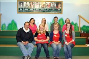 The staff of the Maine Discovery Museum. Back row: Tina DeMerchant, Meg Shorette, Cory McClain, and Laurie Claverie. Front Row: Executive Director Niles Parker, Kim Stewart, Abby LeBlanc, and Audrey MacLean.