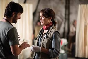 "Eoin Macken (left) as T.C. Callahan and Jennifer Beals as Syd Jennings in the NBC series ""The Night Shift."""