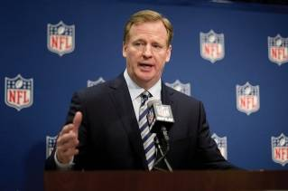 NFL Commissioner Roger Goodell speaks at a press conference regarding his latest ludicrous abuse of power.