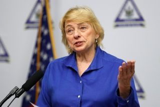 Maine Gov. Janet Mills speaks at a news conference where she announced new plans for the stay-at-home order on April 28, in Augusta, Maine.