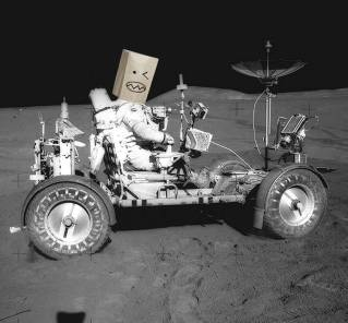 In this photo transmitted from the lunar module on the moon to NASA Mission Control in Houston, Texas, Edge columnist Todd Parker is seen atop one of the agency's lunar vehicles.