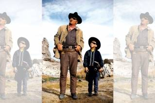 John Wayne, with son Ethan aged 6, on the set of True Grit, in 1968.