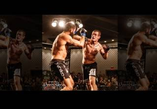 Sanders (right) (14-8) lands a punch vs Derrick Kerrington in last year New England's fight event at the Cross Center..
