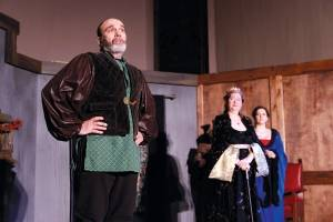 "From left: Mark Bilyk as Henry II, Julie Arnold-Lisnet as Eleanor, and Aimee Gerow as Alais in True North Theatre's ""The Lion in Winter."""
