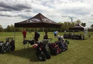 Golf equipment available to test out on the driving range at Bangor Municipal Golf Course during the course's Demo Day on May 24, 2017.