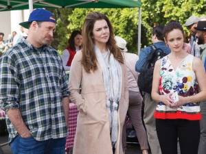 "(L-R) Scott Patterson, Lauren Graham and Alexis Bledel appear in a scene from, ""Gilmore Girls: A Year In The Life."""