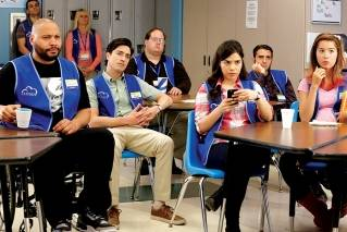 "Colton Dunn (as Garrett - left) with some of the cast of NBC's sitcom ""Superstore."" The show's third season finale is set for Thursday, May 3 at 8:00 p.m. The show was recently renewed for a fourth season."