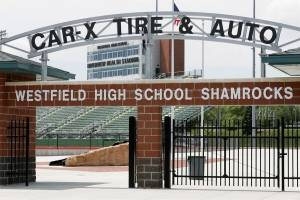 The north gate at the football stadium at Westfield High School in Westfield, Ind., is shown May 11, 2016. (AP photo/Michael Conroy)