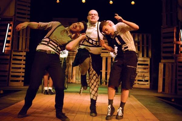 "From left: Logan Bard, Daniel Legere and Robert Brangwynne in Some Theatre Company's production of the musical ""Spring Awakening."""