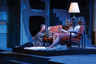 "AJ Mooney (left) and Kelley Davies in a scene from Penobscot Theatre Company's production of ""The Graduate."""