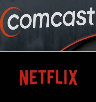 This combo of file photos shows a Netflix logo on an iPhone in Philadelphia on July 17, 2017, bottom, and a Comcast sign on Oct. 12, 2017, in Hialeah, Fla. Comcast is trying to refigure the traditional cable bundle, adding services like Netflix to its subscription packages and offering internet-only TV streaming. The moves come as Comcast, the world's largest cable company, and other cable operators try to work out relationships with once fierce rivals in a changing media landscape.